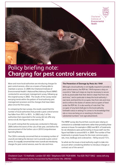Policy Briefing Note: Charging For Pest Control Services